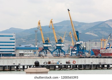 Russia, Novorossiysk - June 30, 2013: Views of Novorossiysk commercial sea port. Novorossiysk is a large city on the Black sea coast in the south of Russia