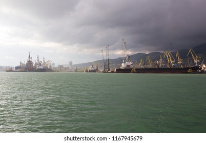 RUSSIA, NOVOROSSIYSK - MAY 9, 2015: Views of Novorossiysk commercial sea port. Novorossiysk is a large city on the Black sea coast in the south of Russia