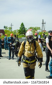 Russia, Novosibirsk - 2 June, 2018: indicative competition of professional firefighters and rescuers. Fireman protective suit