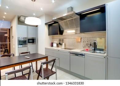 Russia, Novosibirsk - 28 January, 2016: interior room apartment. modern kitchen, dining area
