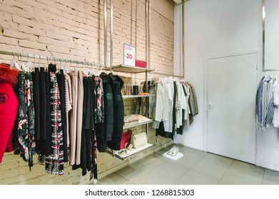 Russia, Novosibirsk - April 25, 2018: interior of women's clothing and accessories store boutique EMPORIO