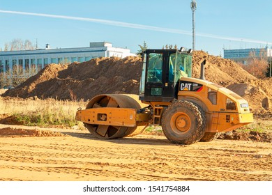 Russia, Obninsk 25.10.2019 Construction machinery for pavement compaction during the construction of a new road.