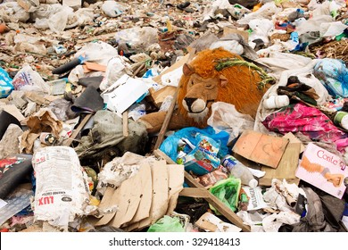 Russia - October 18, 2015: Landfill . Garbage. Municipal solid waste and food waste.