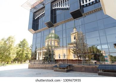 Russia, Omsk - July 17, 2018: Omsk Philharmonic Concert Hall