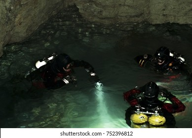 RUSSIA, ORDA - november 08, 2017: a group of divers is preparing to dive into the underwater part of the Orda Cave. Orda Cave is the largest underwater gypsum cave in the world.