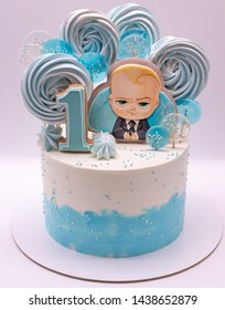 """Russia, Orel, June 26, 2019: Cake for 1 anniversary with gingerbread """"The Boss Baby"""""""