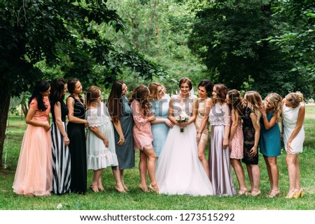 3db8458c55 Russia Orenburg August 08 2017 Bridesmaids Beautiful Stock Photo ...