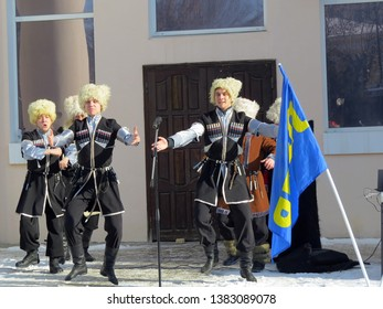Russia. Penza. 23 February 2018. Performance of the folklore ensemble of Cossacks to the residents of the city.