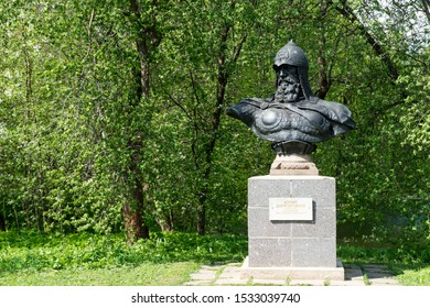 Russia. Pereslavl Zalessky. May 11, 2019. Bust of Yuri Dolgoruky in Goritsky assumption monastery.