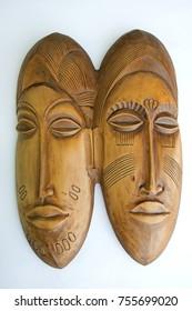 "Russia, Perm Krai, village Red Yasyl: wooden sculpture of the artist Nechayev Sergey   ""mask"" - the African motives"