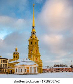 Russia, Peter and Paul Fortress and belfry on a winter evening. Blue sky.