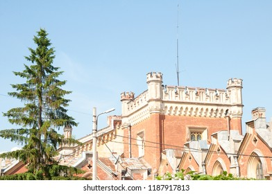 Russia, Peterhof, 23,06,2009 Gothic facades of a huge, trapezoid building of former court stables. The building, made in the form of a medieval fortress in the style of English Gothic