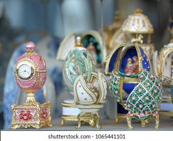 Russia, Petersburg, 05,08,2012 Faberge eggs in the souvenir shop