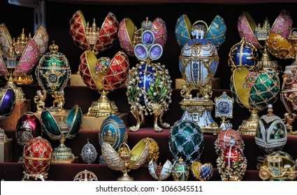 Russia, Petersburg 12,11,2012 Faberge souvenir eggs in a shop for tourists
