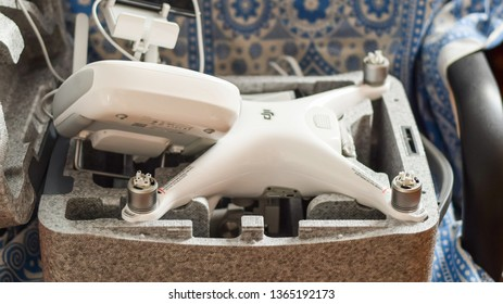 Russia, Poltavskaya village - May 1, 2016: Quadrocopters DJI Phantom 4 in its own carrying case open. Unpacking new quadrocopters.