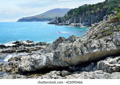 Russia, Primorye, Gamov Peninsula, rocky shores of the Bay of Telyakovsky