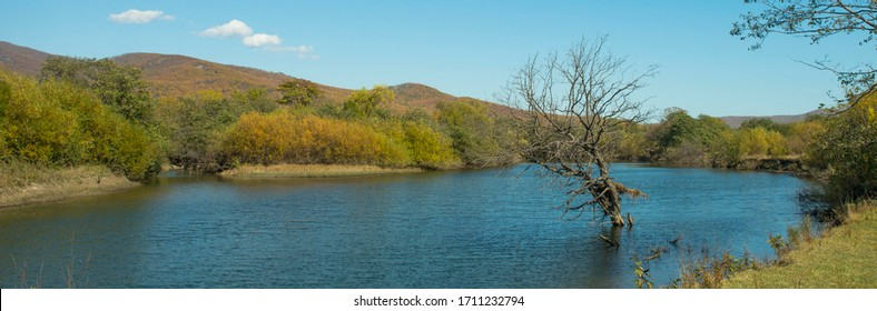 Russia. Primorye.The surroundings of Terney.  Photo of the Serebryanka River.
