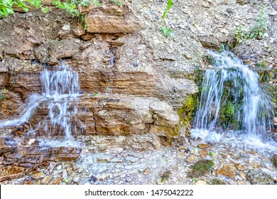 RUSSIA, PSKOV REGION, IZBORSK - June 04.2019: Slovenian Spring (hydrology) on the coastal terraces of Horodishchenskoe lake. The second name The Spring (hydrology) of the Twelve Apostles