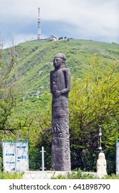Russia, Pyatigorsk, stone sculptures of the Bronze Age on the slope of Mount Mashuk.