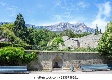 Russia, the Republic of Crimea, the city of Alupka. 06/09/2018: View of the Ai-Petri mountain from the Vorontsov Palace