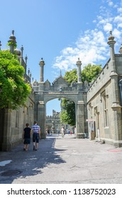 Russia, the Republic of Crimea, the city of Alupka. 06/09/2018: Vorontsov Palace, patio, tourists