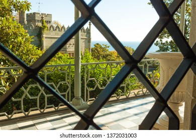 Russia, the Republic of Crimea, the city of Alupka. 03 November 2018: view of the Vorontsov Park through the lattice of Vorontsov Palace
