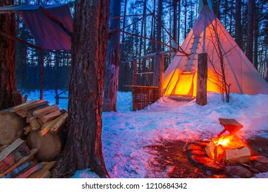 Russia. Republic of Karelia. Trip to Karelia. Indian wigwam in the forest. Camping. Extreme vacations. Home of Indians.