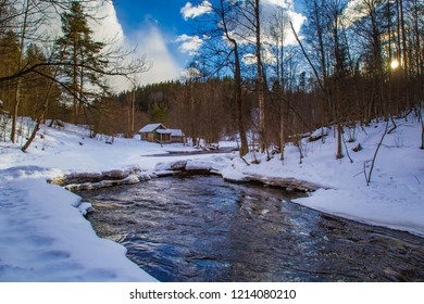 Russia. Republic of Karelia. Winter in Karelia. Travel in the Republic of Karelia. Cabin in the forest. Winter river.