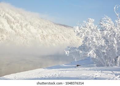 Russia, river Yenisei. Siberian frosts
