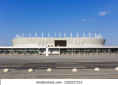 "Russia, Rostov - 31 may 2018: Rostov stadium ""Rostov arena"" before the world Cup. World Cup 2018."