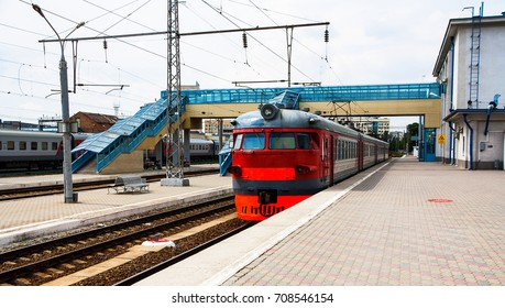 RUSSIA. ROSTOV ON THE DON - JUNE 16, 2016: The passenger train stands on a summer day station. Rostov Main Station is a junction railway station of the North Caucasian Railway.