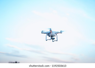 russia, rostov-on-don 26.09.2018  man launches quadcopter