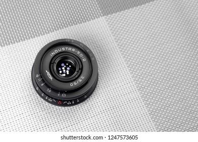 Russia, Rostov-on-Don - December 3, 2018: Industar 50-2 - Soviet lens for SLR cameras