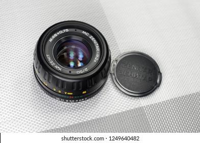 Russia, Rostov-on-Don - December 4, 2018: MC Zenitar-M2s - Soviet lens for SLR cameras