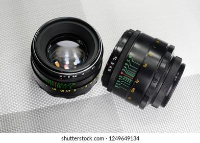 Russia, Rostov-on-Don - December 4, 2018: Helios 44-2 - Soviet lens for SLR cameras