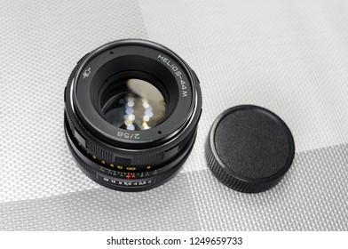 Russia, Rostov-on-Don - December 4, 2018: Helios 44M - Soviet lens for SLR cameras