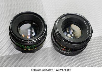 Russia, Rostov-on-Don - December 4, 2018: Helios 44-2 and Helios 44M - Soviet lenses for SLR cameras