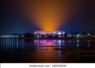 Russia, Rostov-on-Don, January 24, 2018: Football stadium Rostov Arena. The stadium for the 2018 FIFA World Cup. Nightview illumination.