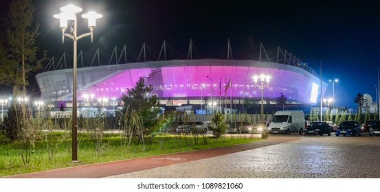 Russia, Rostov-on-Don, May 11, 2018: Football stadium Rostov Arena. The stadium for the 2018 FIFA World Cup. Night illumination.