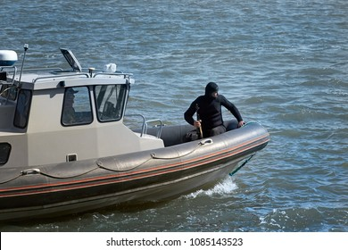 Russia, Rostov-on-Don - May 5, 2018: Demonstration operation to neutralize terrorists on water transport for the celebration of the 100th anniversary of the Rostov Regiment of the Armed Forces.