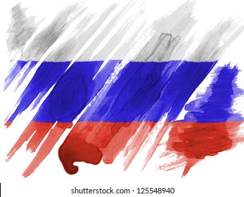 Russia. Russian flag  painted with watercolor on paper