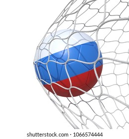 Russia Russian flag soccer ball inside the net, in a net. Isolated on white background. 3D Rendering, Illustration.