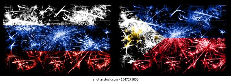 Russia, Russian vs Philippines, Filipino New Year celebration sparkling fireworks flags concept background. Combination of two states flags.