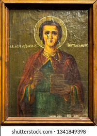 Russia, Ryazan 1 Feb 2019 - Old orthodox icon of the 19th century on wooden canvas before restoration