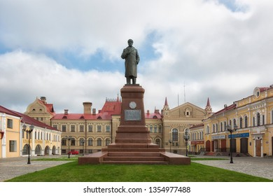 RUSSIA, RYBINSK - JULY 02, 2018: Monument to Lenin on one of the central squares of Rybinsk. The only monument on which Lenin stands in a hat with earflaps