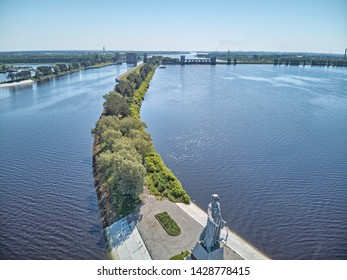 Russia, Rybinsk - June 2018. The monument Mother Volga to Volga River at sunset. Sluice on channel Moscow-Volga. Editorial
