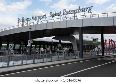 Russia / Saint Petersburg / 2019.07.15 / Pulkovo Airport LED sign