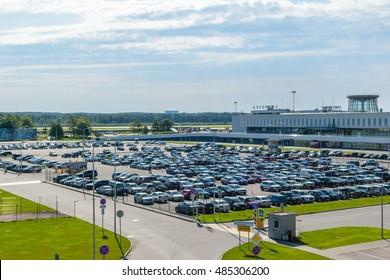 RUSSIA, SAINT PETERSBURG - August 2016: Parking at the Airport Pulkovo in Saint-Petersburg