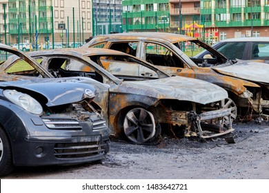 Russia. Saint Petersburg. July 17, 2019. Partially burned car after a fire, parts of the body burnt door handles and cracked glass, insured car after a fire