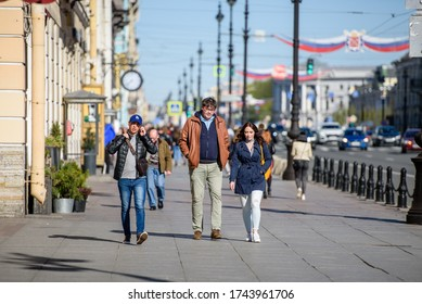 Russia, Saint Petersburg, may 23, 2020: people went for a walk around the city on a Sunny day. Victory over the coronavirus and the end of the pandemic